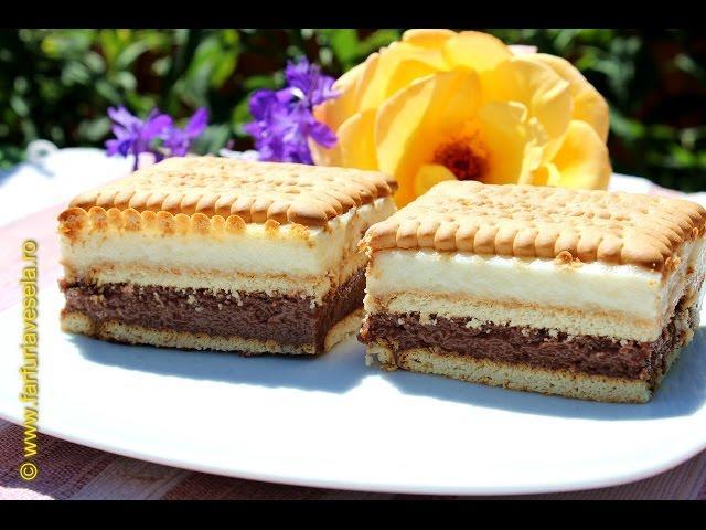 Rețetă desert: Prăjitură cu biscuiți și cremă cu lapte (video)