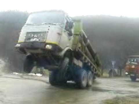Un șofer are probleme cu transportul de bușteni