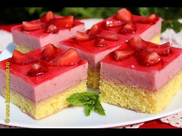 Rețetă desert: Prăjitură cu căpșuni (video)